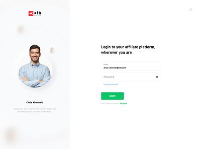 Partnership Office - desktop web xtb platform steps input upload login register form onboarding dashboard design app desktop ux ui