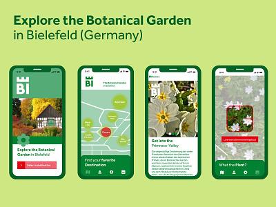 Explore the Botanical Garden in Bielefeld app flat vector minimal typography ui ux design