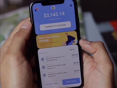 Dark Mode Interaction dark mode swipe right menu saas animation prototype principle banking finance clean dark video product design ios interaction iphone mobile app ux ui