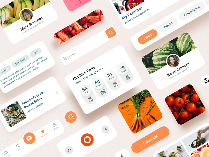 Food Advisor UI Elements finder tags scan discover profile recipes carbs calories elements advisor food saas ios product design interaction mobile iphone app ux ui