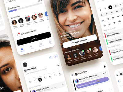 Mobile Time Tracking App employee tracking app timer calendar scheduler shift attendance timeline tracking time saas flat product design ios interaction mobile iphone app ux ui