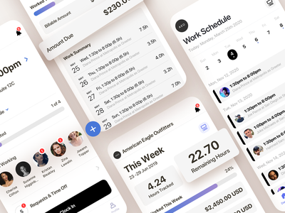 Time Tracker App work tracking hours calendar clock tracker time schedule employee flutter clean saas product design ios interaction mobile iphone app ux ui