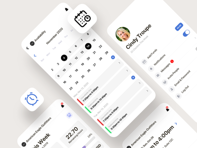 Time Tracker & Employee Time Management App employee profile tracker timer clock list todo schedule calendar flutter saas clean ios product design interaction mobile iphone app ux ui