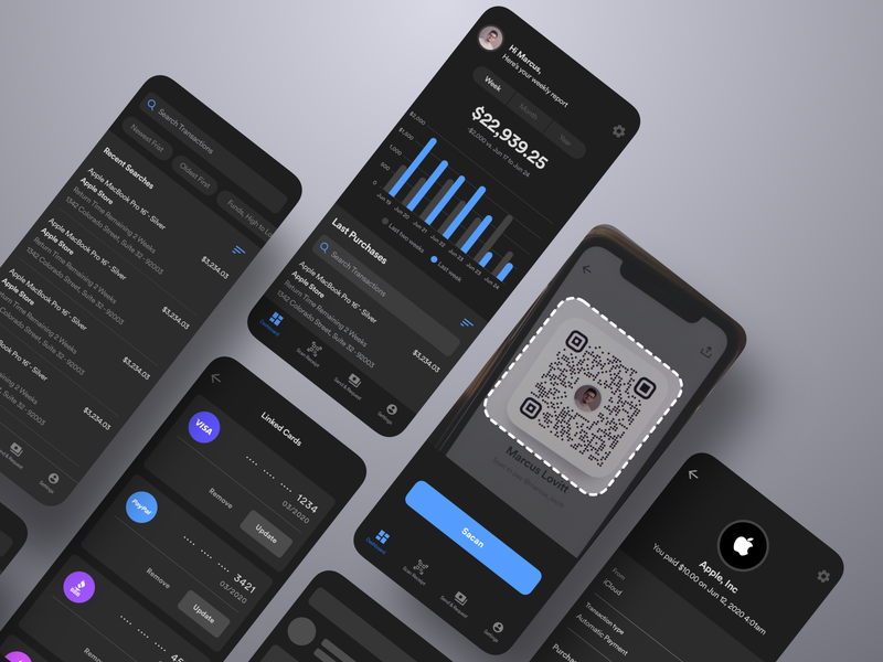 Finance App card paypal payment transfer savings account banking bank dark finance flutter saas product design ios interaction mobile iphone app ux ui