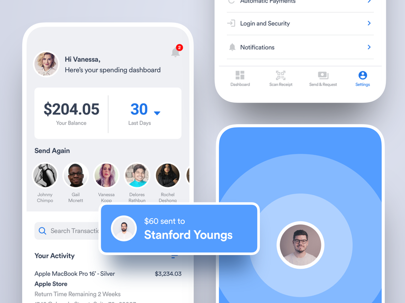 Wallet Payment App minimal notification payment dashboad financial wallet bank finance transfer banking flutter saas product design ios interaction mobile iphone app ux ui