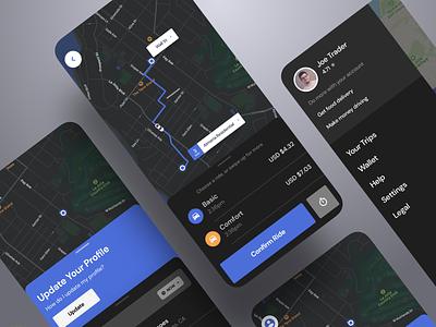 Dark Mode Uber App ride sharing lift smart on demand app ride dark app on demand flutter uber night dark saas product design ios interaction mobile iphone app ux ui