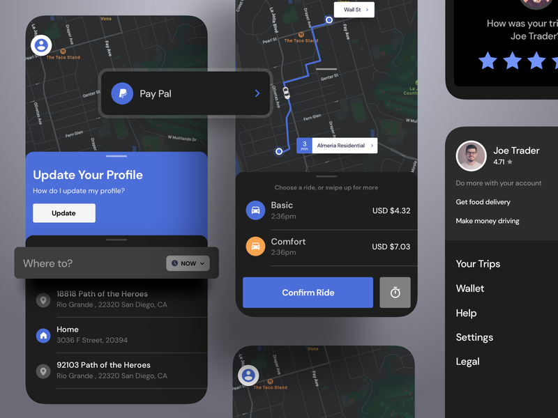 Dark Mode Uber gps tracker ride android map gps on demand lyft uber night dark flutter saas product design ios interaction mobile iphone app ux ui