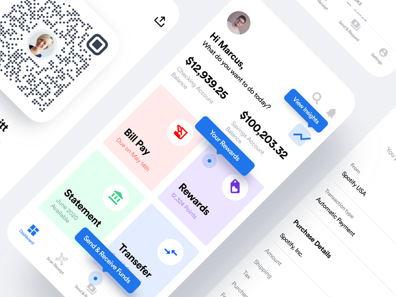 Bank app dashboard screen for mobile account card funds wallet financing finance banking bank react dashboard flutter saas product design ios interaction mobile iphone app ux ui