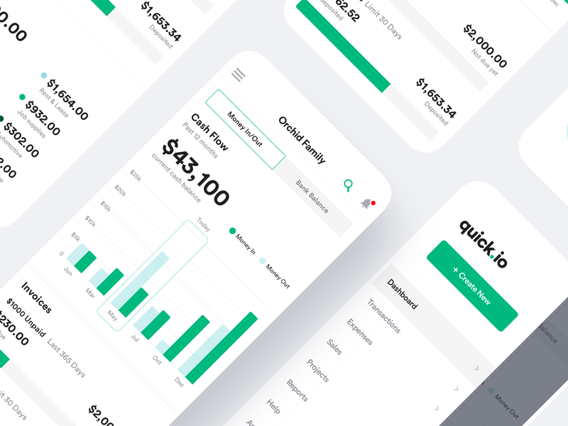 Bookkeeping Mobile Dashboard responsive dashboad tracker expenses invoice invoices financial dashboard quickbooks flutter android saas product design ios interaction mobile iphone app ux ui