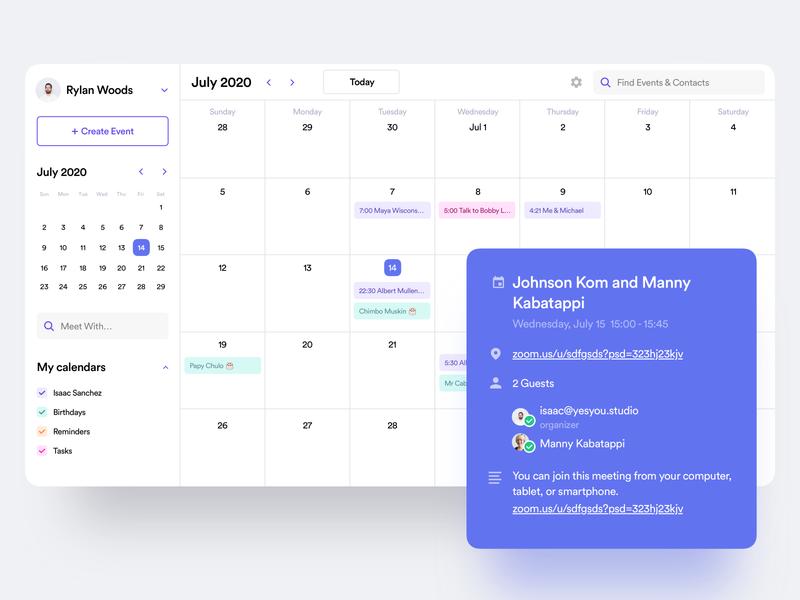 Calendar Desktop App popup dashboard planner event app android material mac app scheduler schedule event react calendar desktop clean interaction product design saas app ux ui