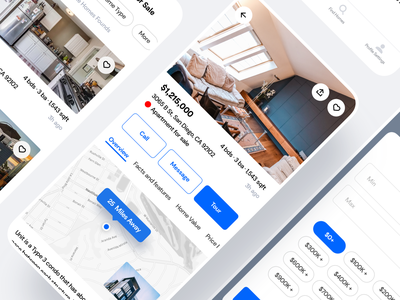 Real Estate cards renting flat room property booking buy rent homes real estate clean saas product design ios mobile iphone interaction app ux ui