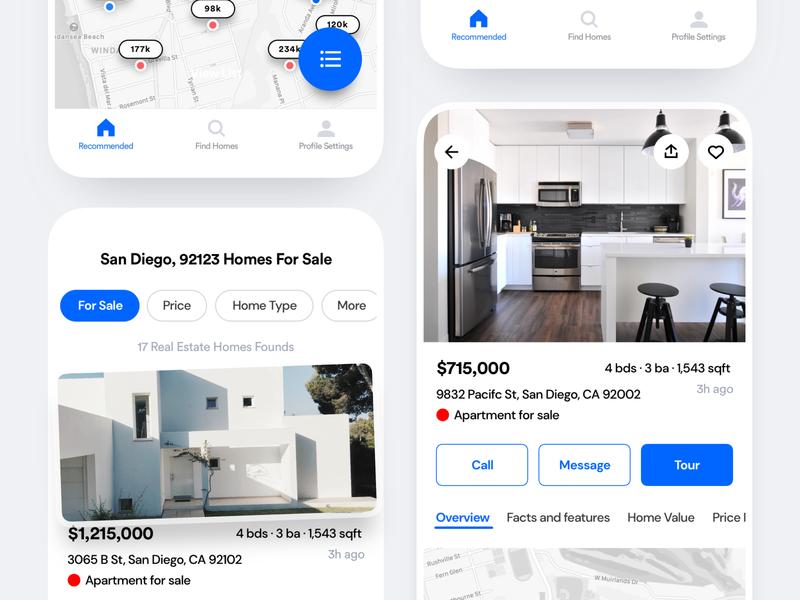 Real Estate Bookings App listings home apartment bookings booking buy rent homes realestate android clean saas product design ios mobile iphone interaction app ux ui