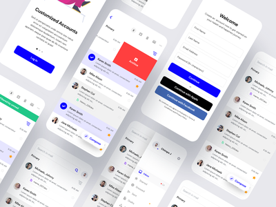 Email Client Mobile App client email flutter android clean saas product design ios mobile iphone interaction app ux ui