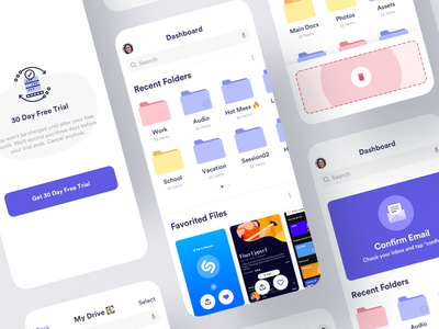 Cloud Storage App dashboard delete finder files icloud drive folder storage cloud android flutter saas product design ios mobile iphone interaction app ux ui