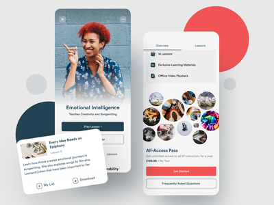 eLearning Mobile Platform friendly clean cards online elearning learning skillshare skill classes flutter video saas product design ios mobile iphone interaction app ux ui