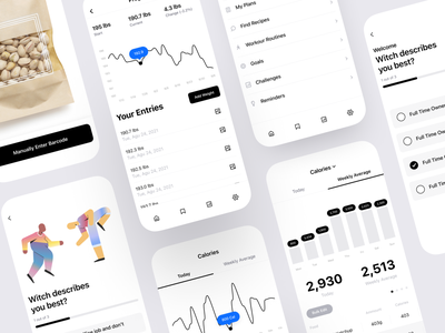 Calorie and Macro Tracking App nutrition counter tracker macronutrient macro calorie fitness responsive apple ios minimal illustration design mobile iphone product design interaction app ux ui