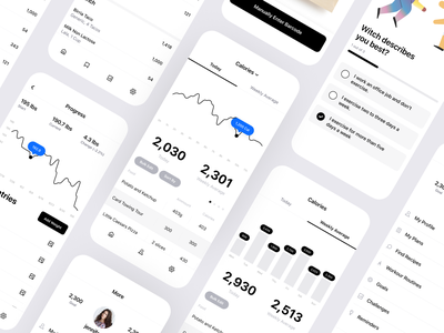 Calorie and Macro Nutrient Tracking App ui kit ios clean table nutrient macro tracker calorie fitness data graph chart design mobile iphone product design interaction app ux ui