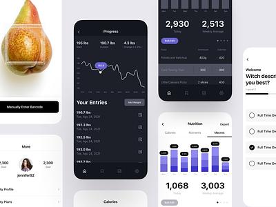 Macro Tracking App modern clean apple ios fitness darkmode dark tracking macro design mobile iphone product design interaction app ux ui
