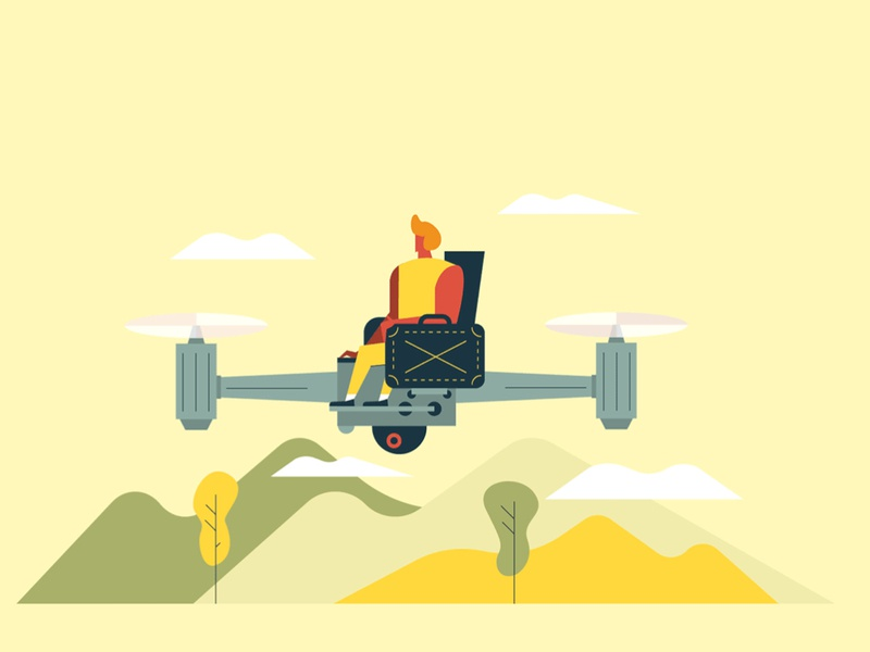 Business vol.3 fly drone economy people home business vector