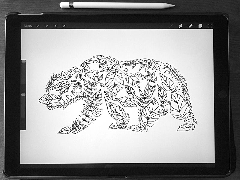 Forest Bear Zentangle procreate animal bear illustration sketch art woodland forest pattern zentangle