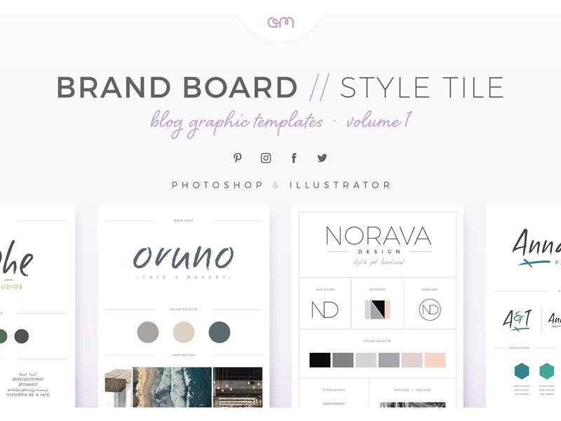 Brand Boards Style Tiles Vol 1 style tiles design brand board logo design logo template builder branding