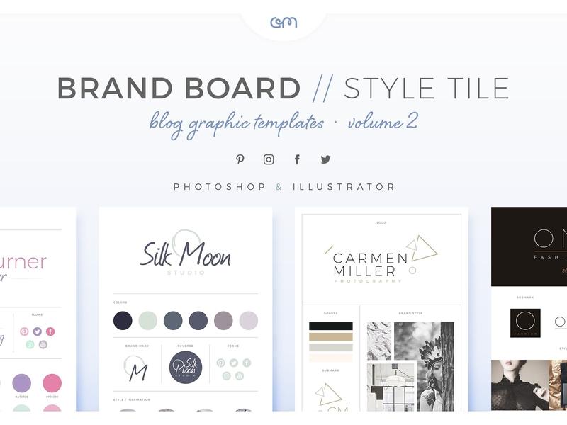Brand Boards Style Tiles Vol 2 logo design branding logo design moodboard social media design color palette brand board scene creator logo branding template builder