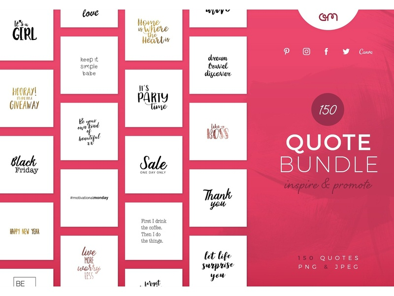 150 Quote Bundle facebook twitter instagram market brand hand written inspirational branding design bloggers blogger social media quotes