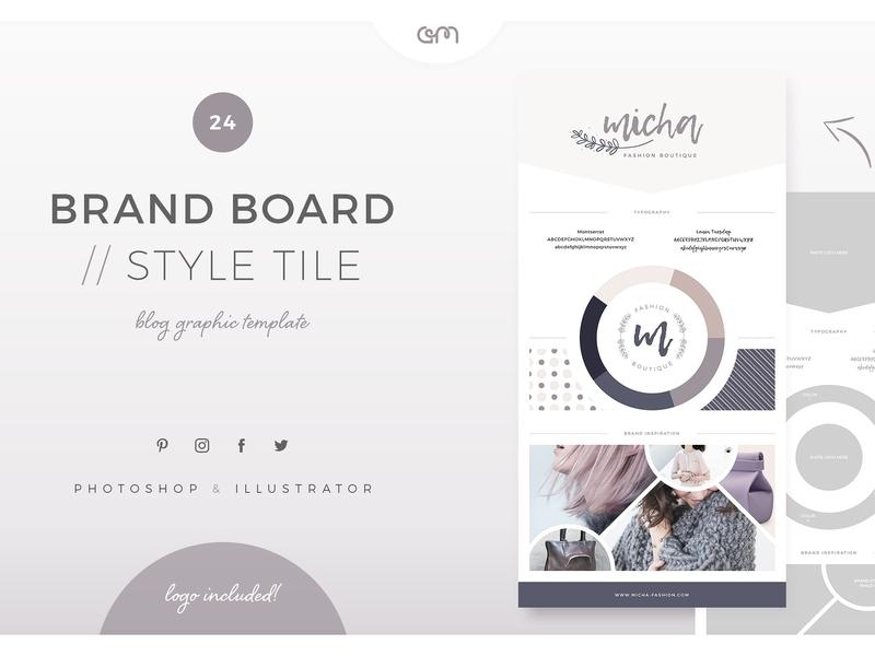 Brand Board Style Tile style tile moodboard logodesign logo bloggers color palette social media design template builder branding