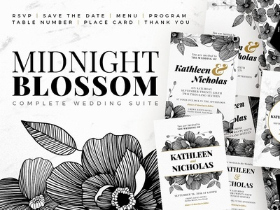 Midnight Blossom wedding cards minimal bride flowers floral design floral art template builder invite wedding