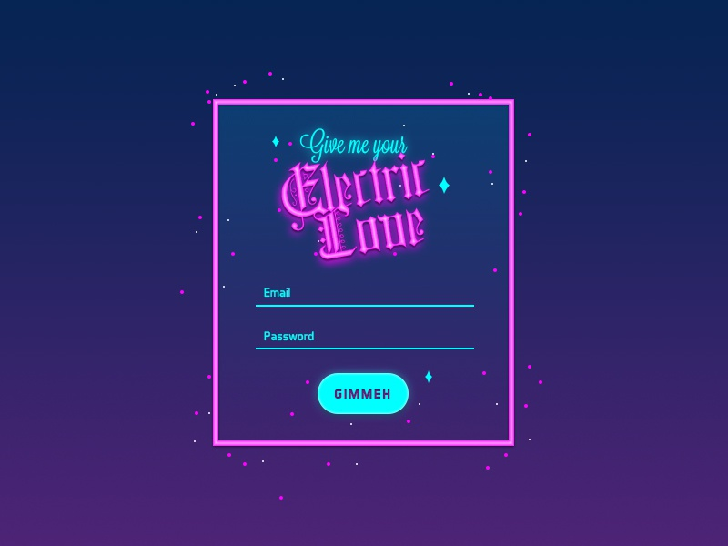 DailyUI #1 - Login blue pink colors 80s electric neon design interface form login dailyui