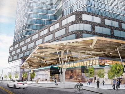 Concept development proposal exterior hand style rendering digital watercolor frameviz visualization architecture