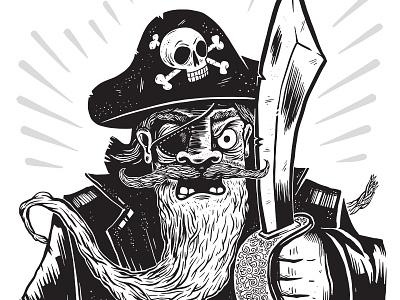 Pirate pirate skull sword beard portrait character black and white