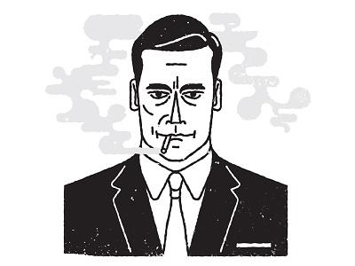 Don Draper smoke illustration suit portrait mad men don draper black and white