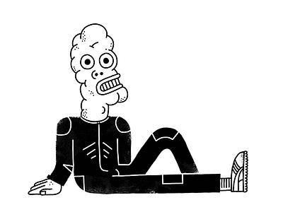 Alien Scum black and white alien character illustration