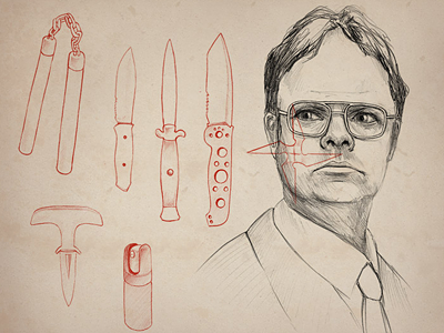 Dwight Schrute weapons pencil illustration the office portrait