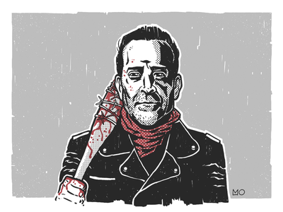 Negan and Lucille walking dead blood character baseball bat lucille portrait illustration negan