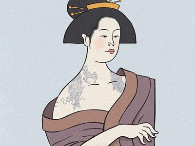 Geisha geisha illustration tattoo dragon