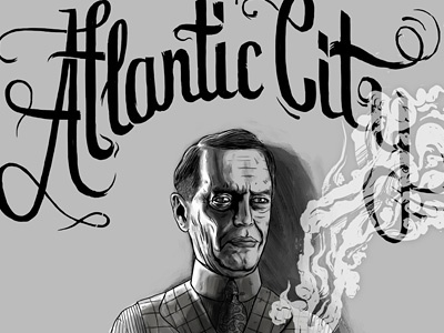 Nucky Thompson Atlantic City nucky thompson steve buscemi boardwalk empire atlantic city typography calligraphy handlettering illustration black and white smoke actor portrait gangster