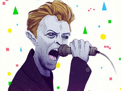 Bowie david bowie portrait illustration microphone singing