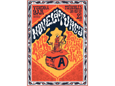 Novela Turca illustration psychedelic hippie groovy diez rock band flyer poster