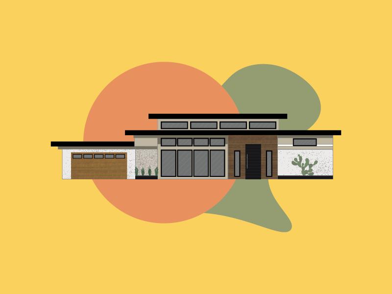 Mid Century Modern House Illustration by Aaron Fox on Dribbble