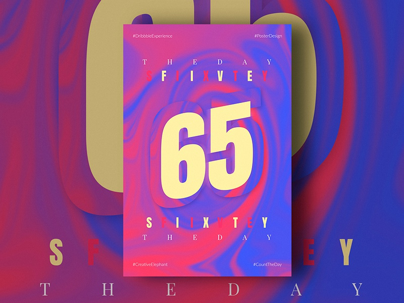 Day Sixty Five of Dribbble Experience poster dribbble experience creative elephant count the day