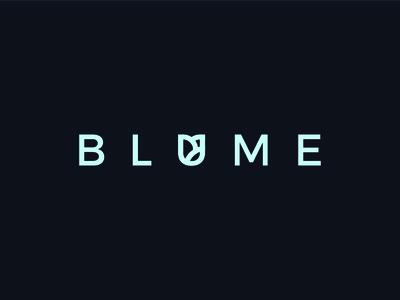Blume flower shop icon sleek clean minimal modern shop dark black blue logo flower