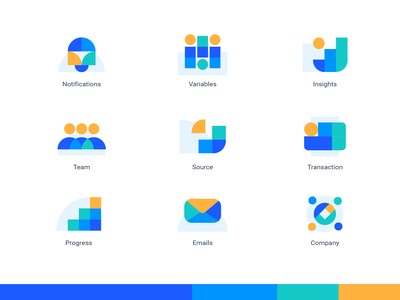 some icons technology tech branding concept notification payment data insights team colorful brand brand design icon design iconography icons
