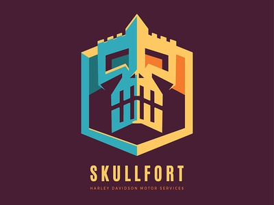 Skull Fort albania vintage building colorful logo services fortress fort strong skull