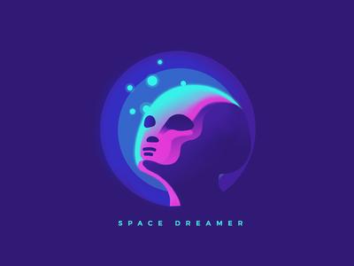 Space Dreamer 4 albania retro technology logo clean startup innovation dreaming dream space alien