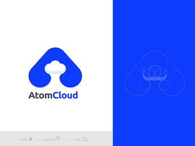 Atom Cloud brand simple technology software device letter a cloud atomic