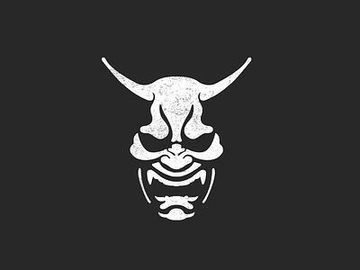 Oni For Fun devil demon japan strong man logo man black and white logo professional