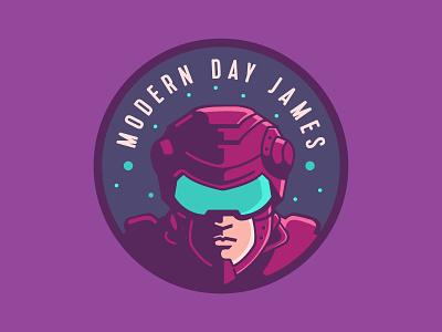 Modern Day James V1 emblem retro strange robot channel artist technology man logo sci fi