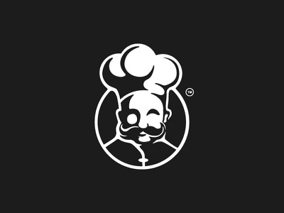 Executive Chef cook cooking meat space negative man logo food delivery delivery food